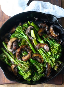 roasted broccolini with mushrooms and aleppo chili flakes recipe