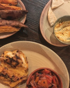 The Butterfly Chicken at Nandos with Charred Veg and Sweet Potato Wedges (and Hummus) is everything.